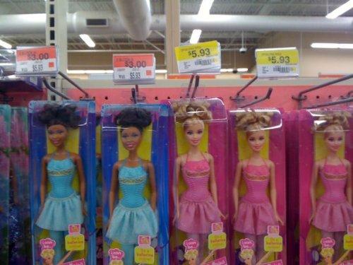Wal-Mart prices black Barbie less than white Barbie photo