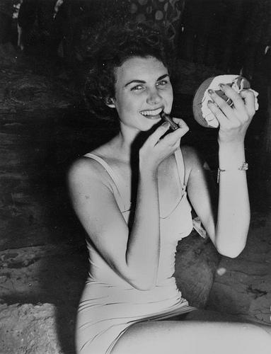 Jill Glindermann, winner of the Sun Girl Quest at Suttons Beach, 1953