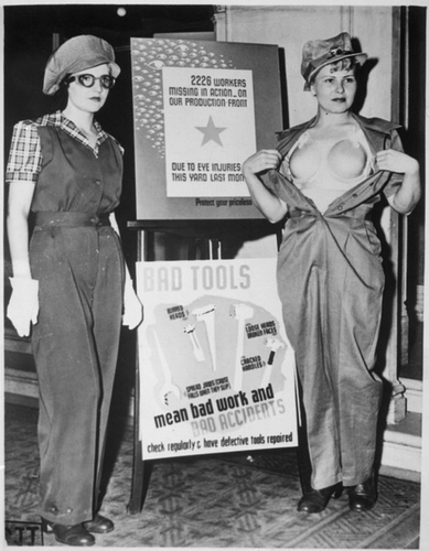 photo of Safety Garb for Women Workers, ca. 1943 with plastic bra