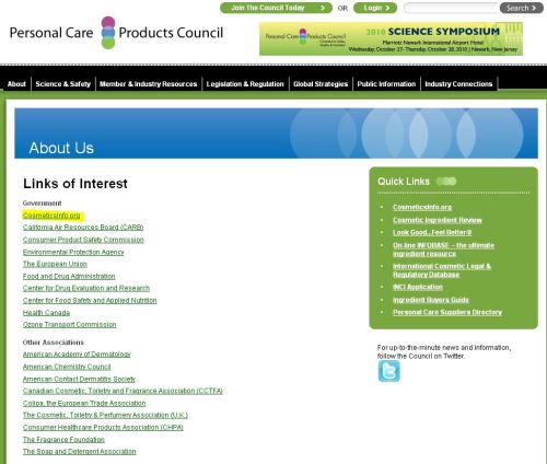 Personal Care Products Council Links of Interest