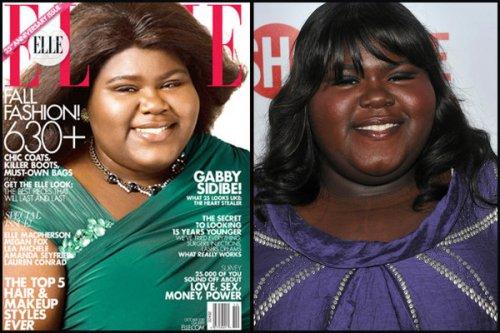 Gabourney Sidibe Elle Cover skin lightening