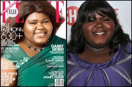 Gabourney Sidibe Elle Cover skin lightening