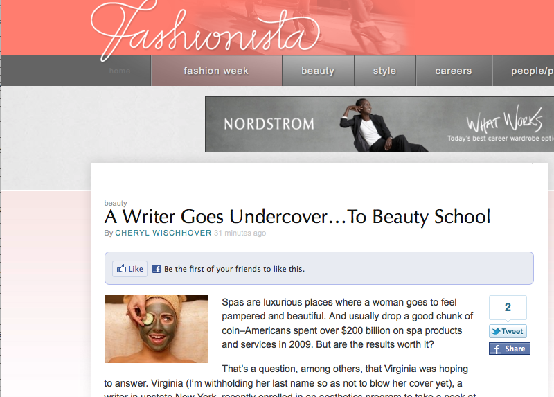 Screen grab of Beauty Schooled on Fashionista.com