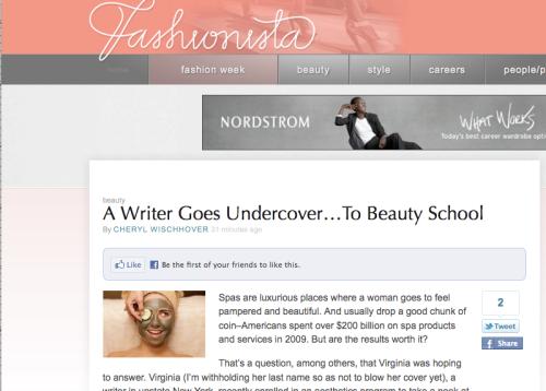 Screen grab of Beauty Schooled on Fashionista.com