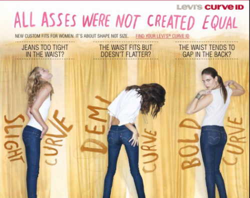 "photo of Levis ad ""all asses were not created equal"""
