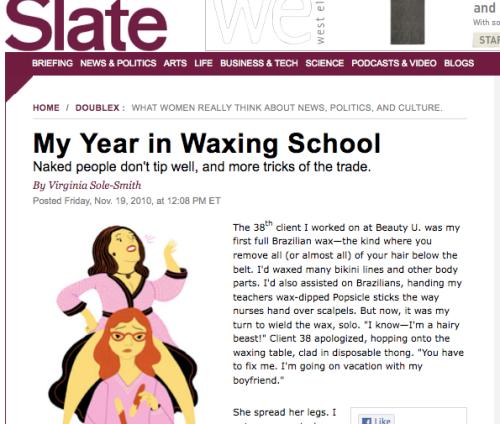 """Screen grab of Slate """"My Year in Waxing School"""""""
