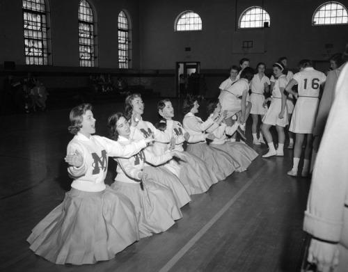 Marymount basketball team and cheerleaders 1958