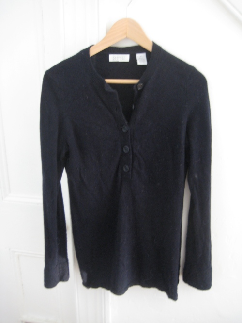 Navy/Black Barney's Henley-Style Sweater