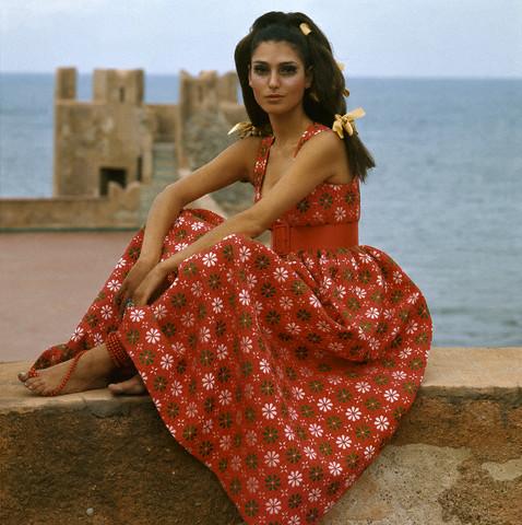 Photo of Barbara Bach in Red Floral Dress by Oscar De La Renta