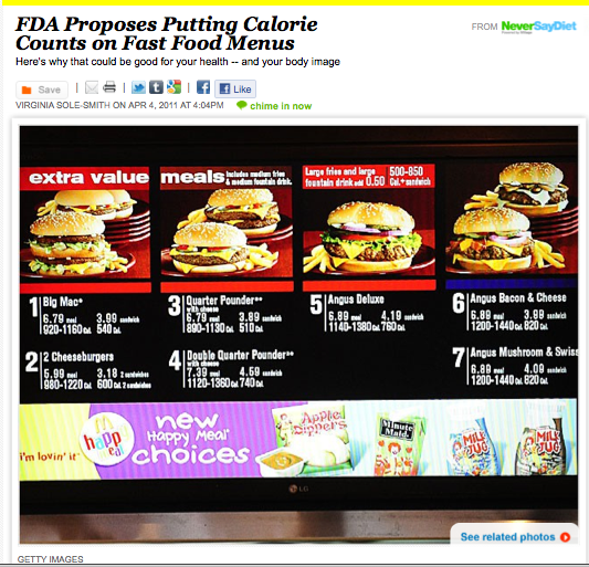 FDA proposes calorie counts on fast food menus