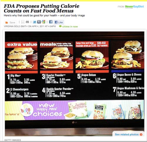 FDA proposes calorie counts on fast food menus