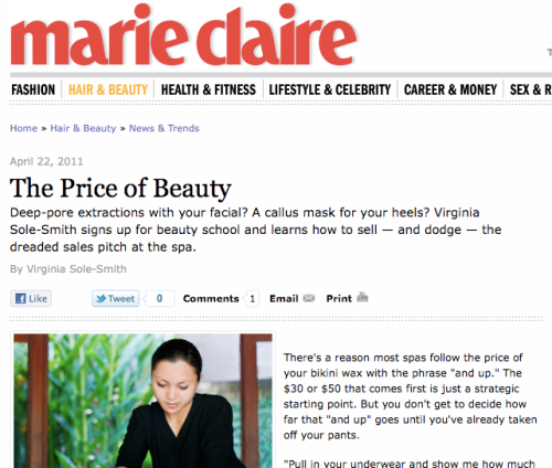 """""""The Price of Beauty,"""" by Virginia Sole-Smith Marie Claire"""