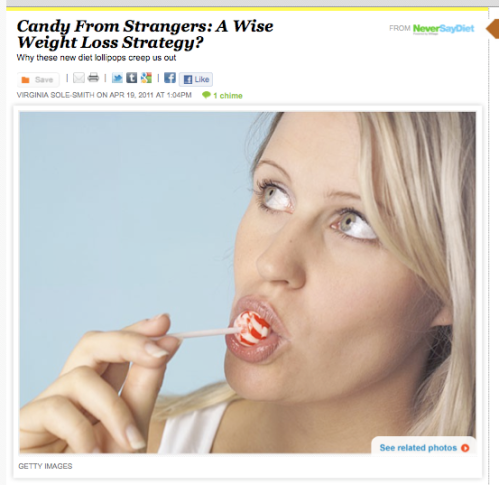SlenderPOPs weight loss candy is a terrible idea (iVillage Never Say Diet by Virginia Sole-Smith)