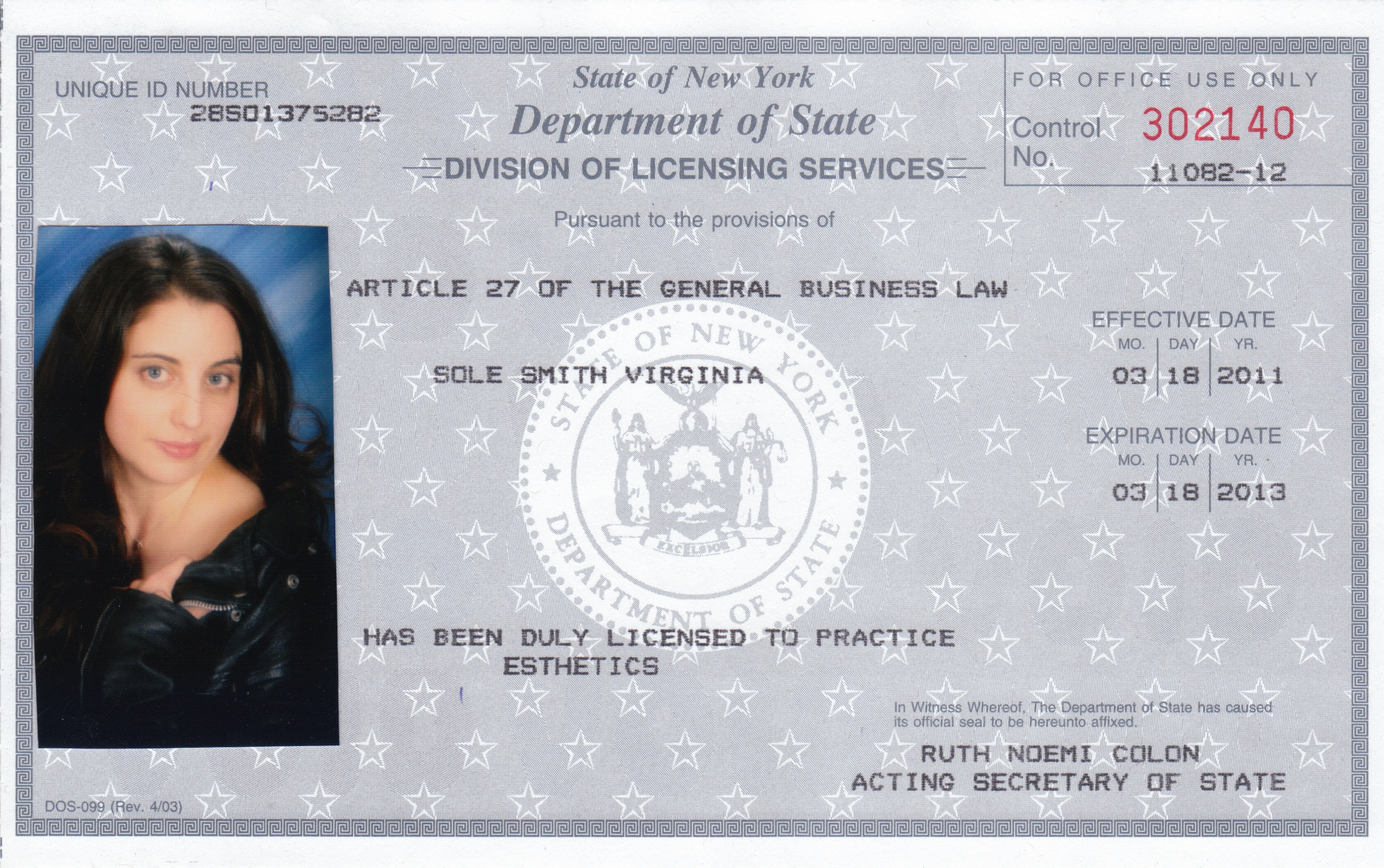 Virginia Sole-Smith Esthetics License