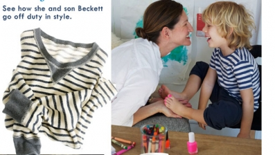 Jenna and son paint pink toe nails J Crew ad