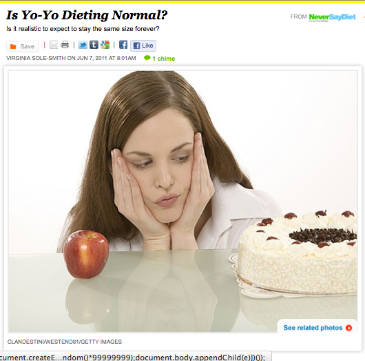 iVillage Never Say Diet yo-yo dieting Virginia Sole-Smith