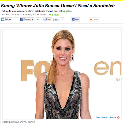 iVillage Never Say Diet Julie Bowen Doesn't Need a Sandwich Virginia Sole-Smith